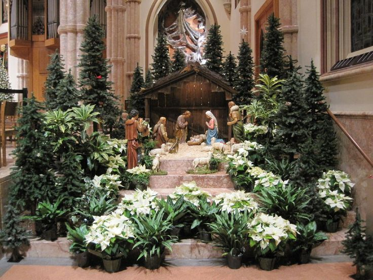 21 best nativity scene images on pinterest christmas for Altar decoration for first holy communion