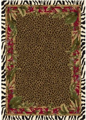 Milliken Signature Jungle Safari 4559C / 8000 Ruby Area Rug, Feature A  Leopard Spot
