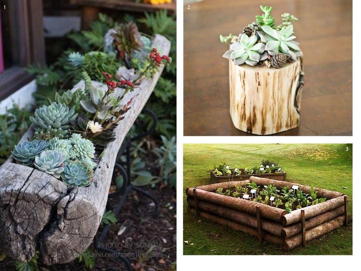 Decora tu #terraza o #patio con maceteros hechos con troncos de madera
