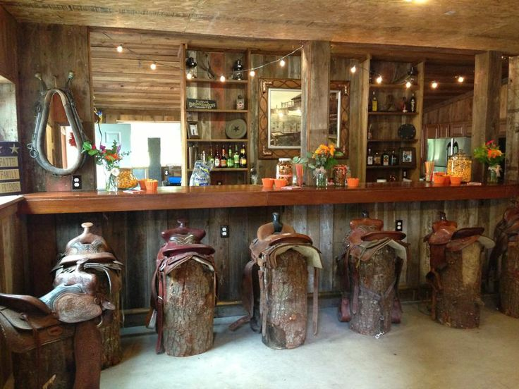 Saddle bar stools. Barn living