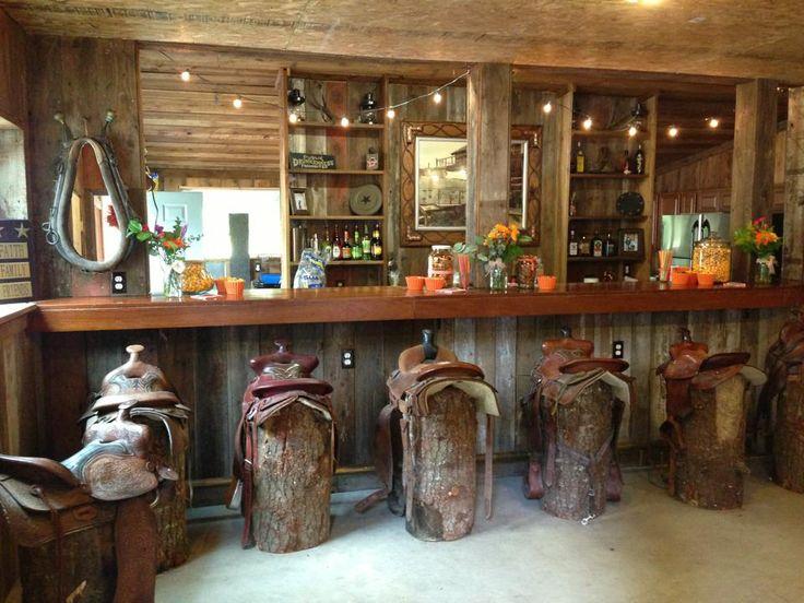 Saddle bar stools. Barn living