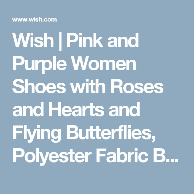 Wish | Pink and Purple Women Shoes with Roses and Hearts and Flying Butterflies, Polyester Fabric Bathroom Shower Curtain Set with Hooks