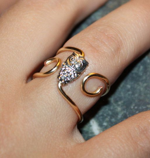 Trendy Owl Ring - Copper Wire, Silver Plated Owl, Adjustable Gold Coloured Bold…