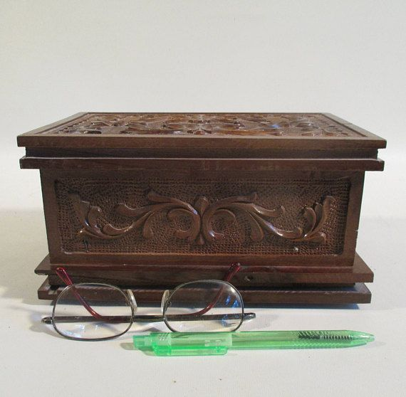 Carved Wooden Box Vintage Asian Style Decor Secure Storage