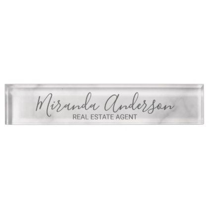 Classy Elegant White Marble Desk Name Plate - real estate gifts business cyo diy customize