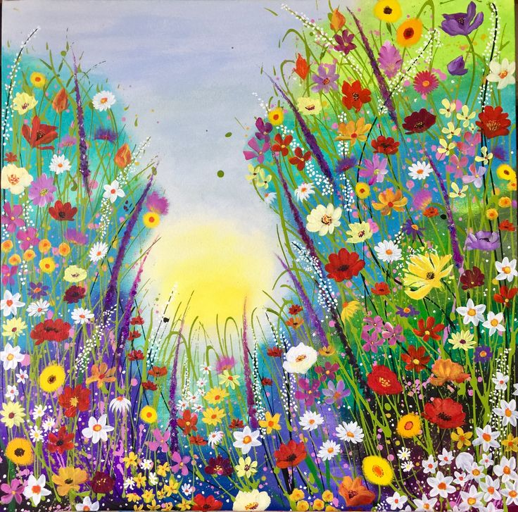 I imagine you're in a peaceful place like this now 💕 abstract flowers, flower garden