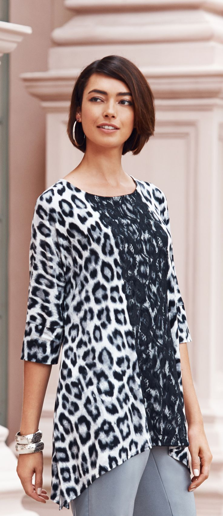 Chico's Black Label Animal Lace Print Knit Top