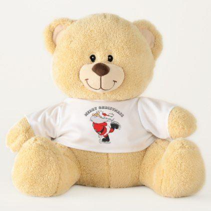 Santa Claus Skating large Teddy Bear - elegant gifts gift ideas custom presents
