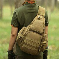 Lalawow Tactical Backpack MOLLE Nylon Sling Bags For Hunting Cycling Travelling Hiking Skiing (Khaki)