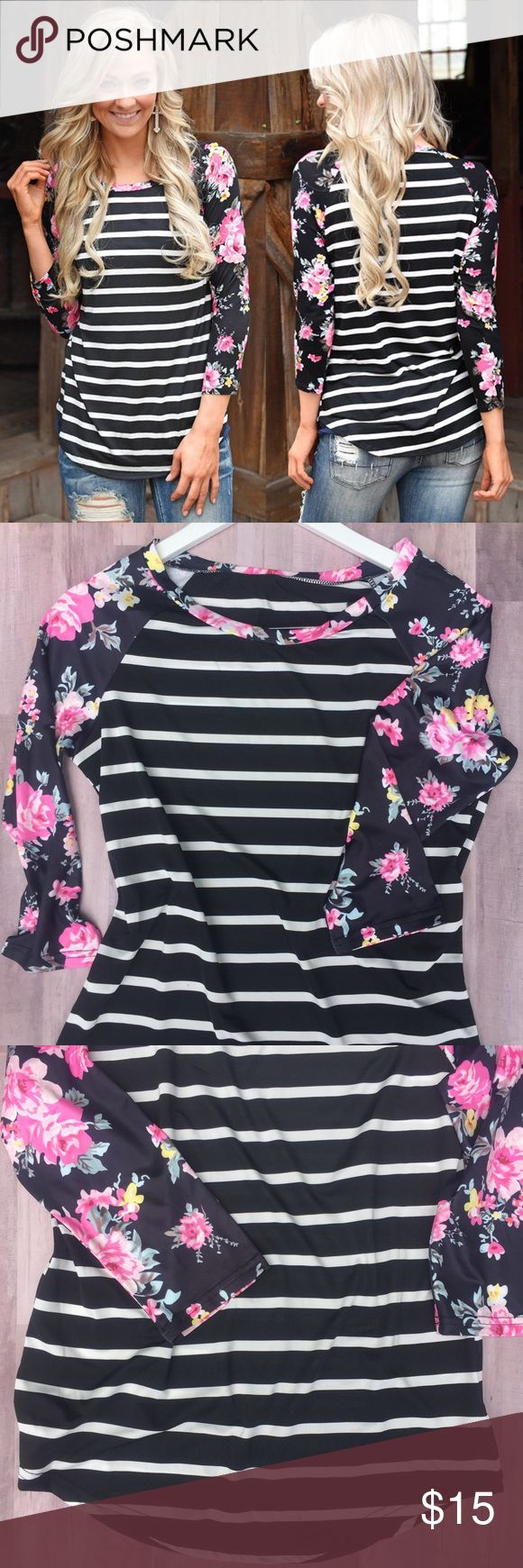 Floral & Strips Baseball Tee Cute Flower Print & Strips Mix Baseball T-Shirt. Worn once for a photo shoot & once very small dot stain on back of the shirt(pictured). Tops Tees - Long Sleeve