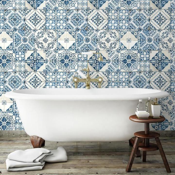 Mediterranean Tile Peel And Stick Wallpaper Mediterranean Tile Mediterranean Decor Mediterranean Home Decor