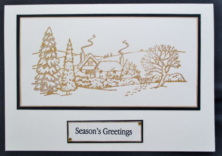 Stamp designed by Jayne Nestorenko and stamped with Inca Gold. Quick and easy Christmas card.