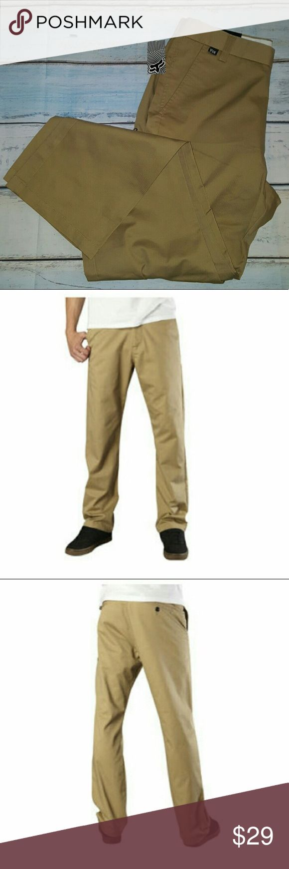🆕Fox Racing Essex Pants Fox Essex Pants Sport a Clean Look, a Tough-As-Nails Construction and Basic Colorways, Making Them the Perfect Go-To Pants for Your Everyday Needs.  Sits low on the waist with a relaxed fit through the top and thigh Straight leg styling Five pockets with logo button waist and zip fly Fox head embroidery on back 60% polyester/40% twill Fox Pants Chinos & Khakis