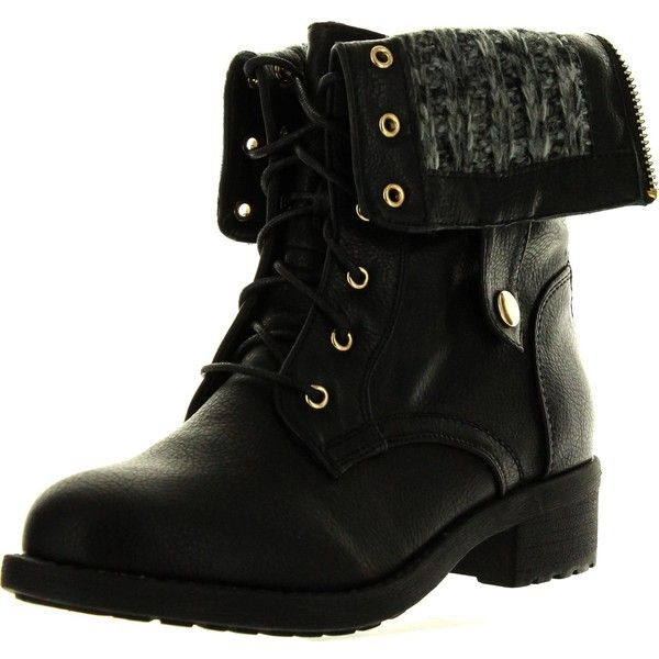 Refresh Womens Dason-03 Cuff Military Low Heel Lace Up Mid-Calf Riding... (£28) ❤ liked on Polyvore featuring shoes, boots, black flats, combat boots, mid-calf boots, black military boots and black wedge boots