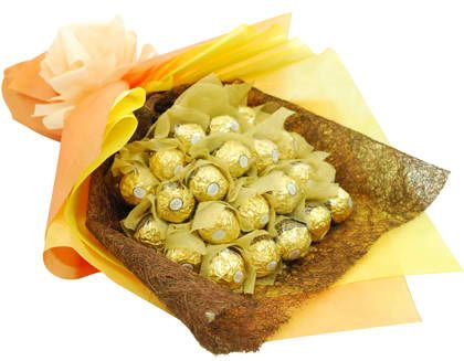 layer type Bouquet of 24 pcs. ferrero in a Golden Wrapping.