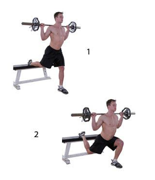 Bulgarian Split Squats, can be used with either a bar accross the shoulders or a dumbbell in either hand