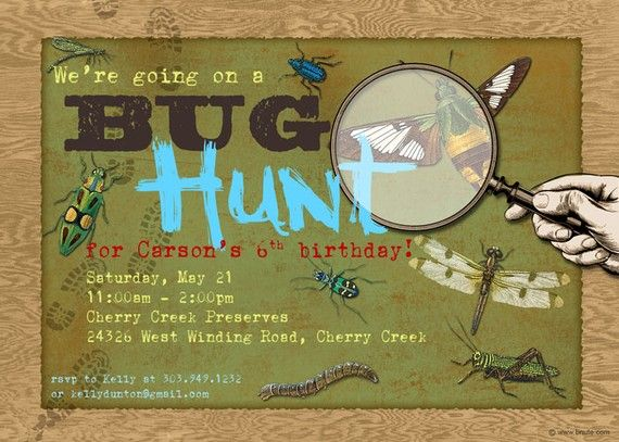 I definitely would have planned this for my son, when he was younger, if I had had this much creativity!  The card is great, too.  A previous poster said: My friend, Betsy Nute, made these party invitations for my son's third birthday party - which was a bug hunt theme. She also made tags for party favors.