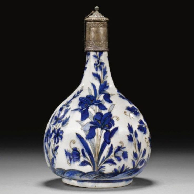 A Safavid Blue and White Bottle, Persia, 17th Century.