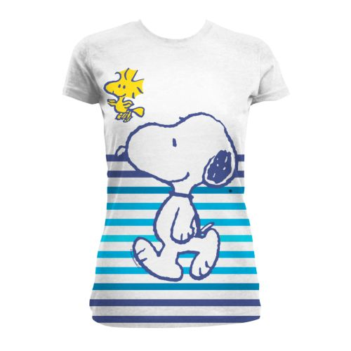 snoopy and woodstock peanuts stripe t shirt. Black Bedroom Furniture Sets. Home Design Ideas