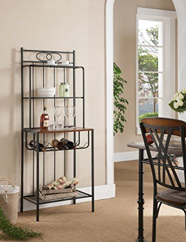 Kings Brand Furniture Metal With Wood Bakers Rack with Wine Storage Create a tasteful storage solution for your kitchen or dining area with this baker's rack With its neutral black finish, it is sure to complement any color scheme