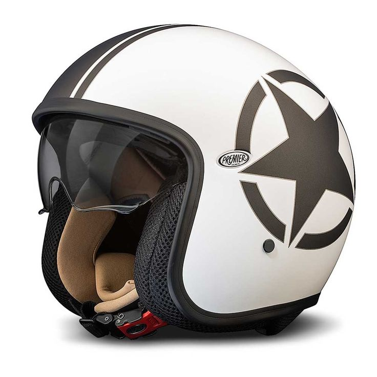 Premier Jet Vintage Helmet - White / Black Star - THE CAFE RACER | FREE UK DELIVERY