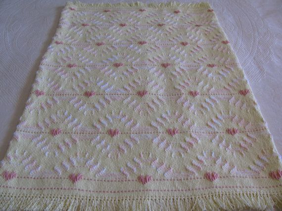 Swedish Weaving Monk's Cloth Baby Blanket done on Yellow Cloth with Peach and Peach/White Varigated Yarn