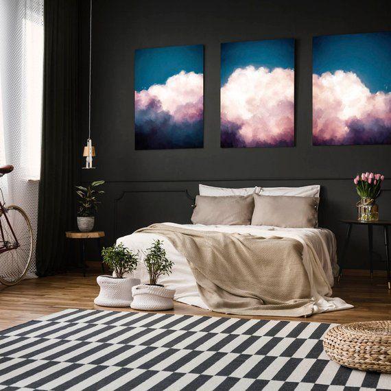 Extra Large Wall Art, Set of 3, Cloud Painting, Abstract Art, Large Abstract Painting, Teal Blue Pink Cloudscape Art by CORINNE MELANIE ART