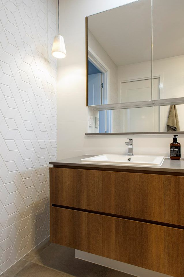 48 4003 Sleek Concrete™ - like the timber freestanding vanity and overhead mirror cabinet.