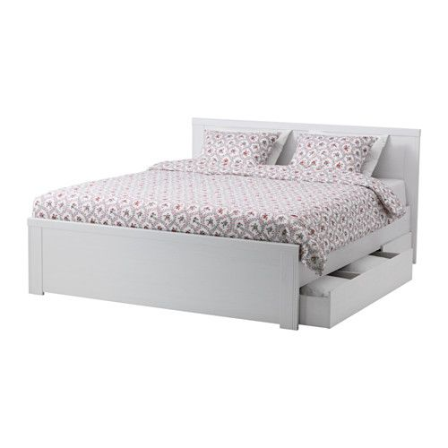 IKEA - BRUSALI, Bed frame with 4 storage boxes, Luröy, Standard Double, , The 4 large drawers on castors give you an extra storage space under the bed.Adjustable bed sides allow you to use mattresses of different thicknesses.16 slats of layer-glued birch adjust to your body weight and increase the suppleness of the mattress.