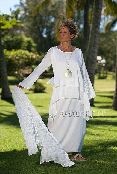 Flojo blanco natural túnica de seda perfecto para la fiesta de la boda