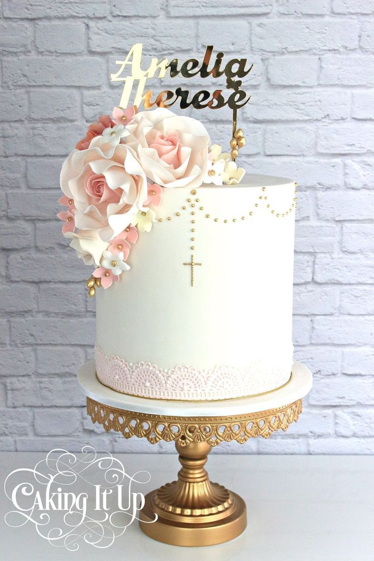 Image Result For White And Gold Baptism Cakes For Girls