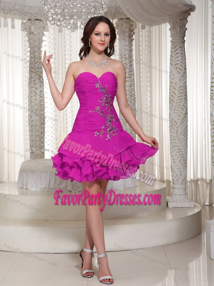 Superb Sweetheart Ruffled Hot Pink Graduation Party Dress with Appliques