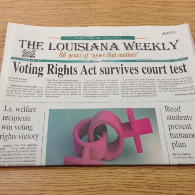 Louisiana Weekly, our local African American newspaper