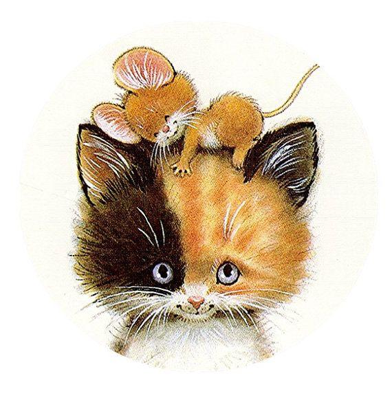 Открытки с мышка и кот, женщинам семья море