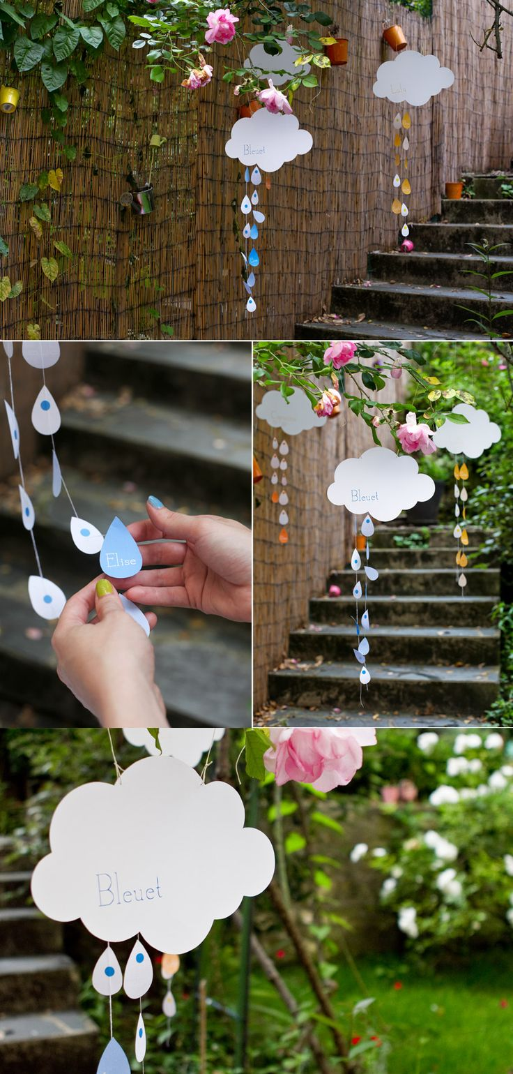 "Rainbow baby ""shower"" - clouds & raindrops-- really easy to make with paint samples I bet!"