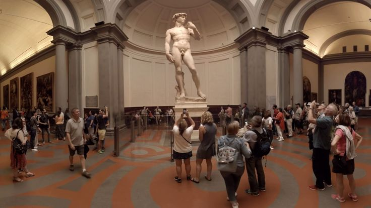 360 video: Michelangelo's David, Florence, Italy / virtual reality / vr / This gallery was founded in 1784 and holds Michelangelo's masterpiece - the statue of David. Apart from this famous sculpture, it holds other artworks by Michelangelo and a collection of Renaissance paintings.