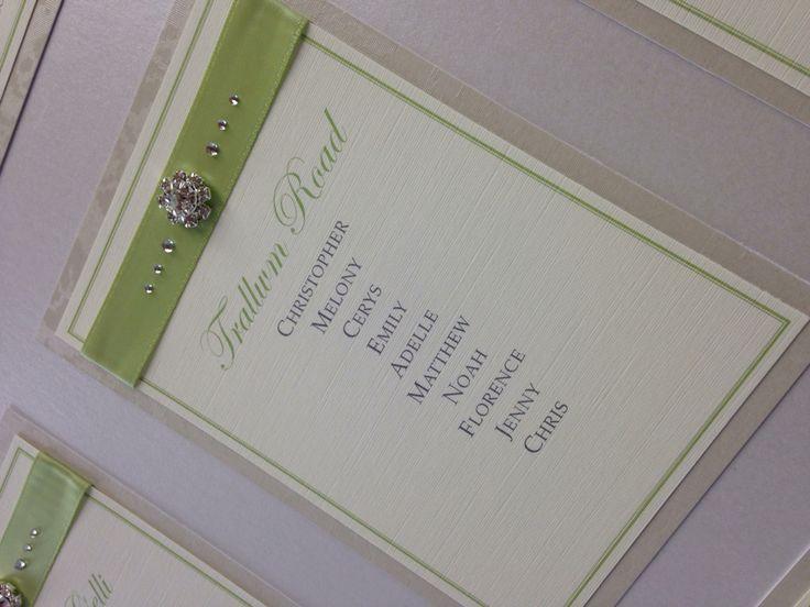 Green diamanté sparkly table plan