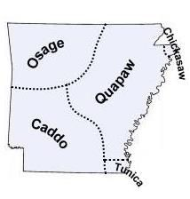 """""""Did you know the name """"Arkansas"""" is a Siouan Indian word? It comes from Acansa, which was the name of a major Quapaw village in southeastern Arkansas. Many people believe that Acansa meant """"downstream people,"""" but that isn't true--Quapaw, the tribe's own name for themselves, means """"downstream people."""" Acansa probably came from the Quapaw word meaning """"southern place."""" Their non-native neighbors frequently referred to the Quapaw as the Acansa, Arkansas, or Alkansea Indians because of this…"""