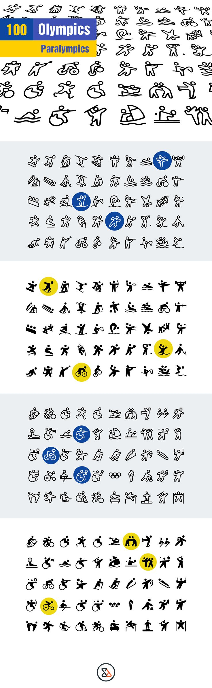 Olympics Icons on Behance #olympic #paralympics #sports #athlete #fitness #icon #icondesign #illustration #pictogram #glyph bicycle, runner, disable, wheelchair, medal, web, webdesign, hockey, ski, game, sports, sport,