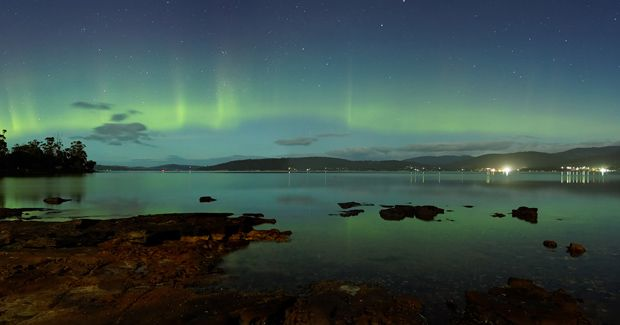 Aurora Australis appearing over Howden southern Tasmania, Australia. Credit: Jonathan Esling.