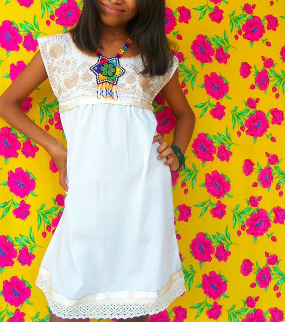 Flor De Canela Mexican Artisanal Embroidered Pure Cotton Mini Dress on Etsy, $126.98 AUD