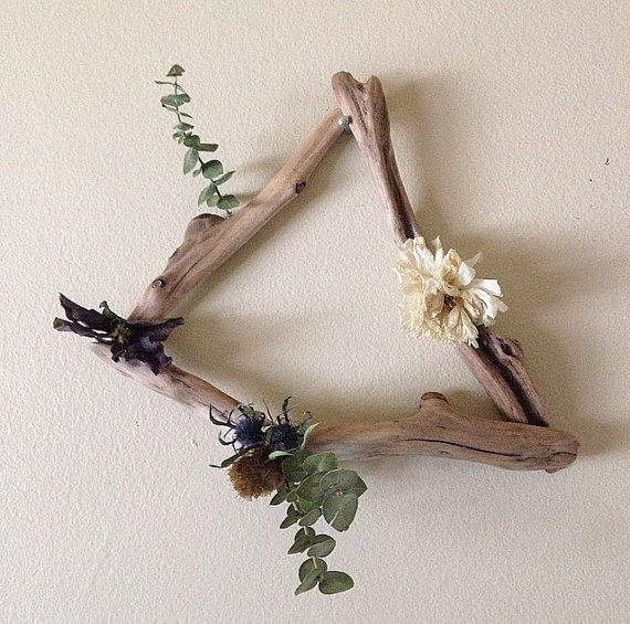 Dried floral & driftwood wall art by WldflwrStudio on Etsy