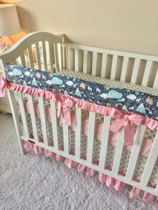 Candy Pink and Gold Dot Tailored Crib Skirt with Ruffled Trim