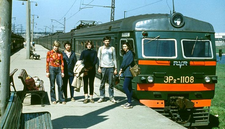 Soviet students on a trip. 70s