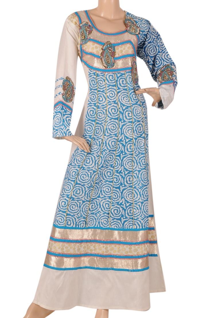 aljalabiya.com: 'Ocean Queen' Shantoon fabric patterned kaftan with embroidery on chest (N-13679-11) $98.00