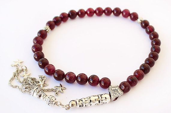 Red Garnet Prayer Beads Tesbih 33 Tasbih by asteriascollection