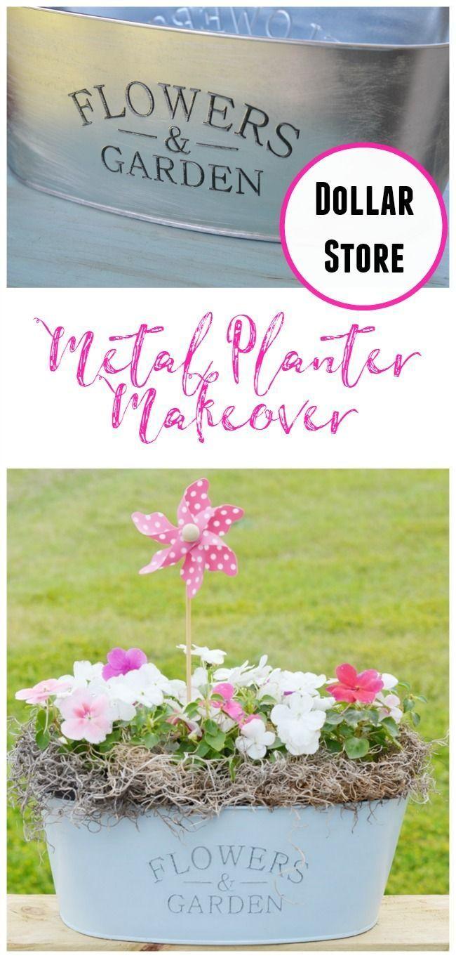 Dollar Store Metal Planter Makeover Cheap Flower Pots 400 x 300