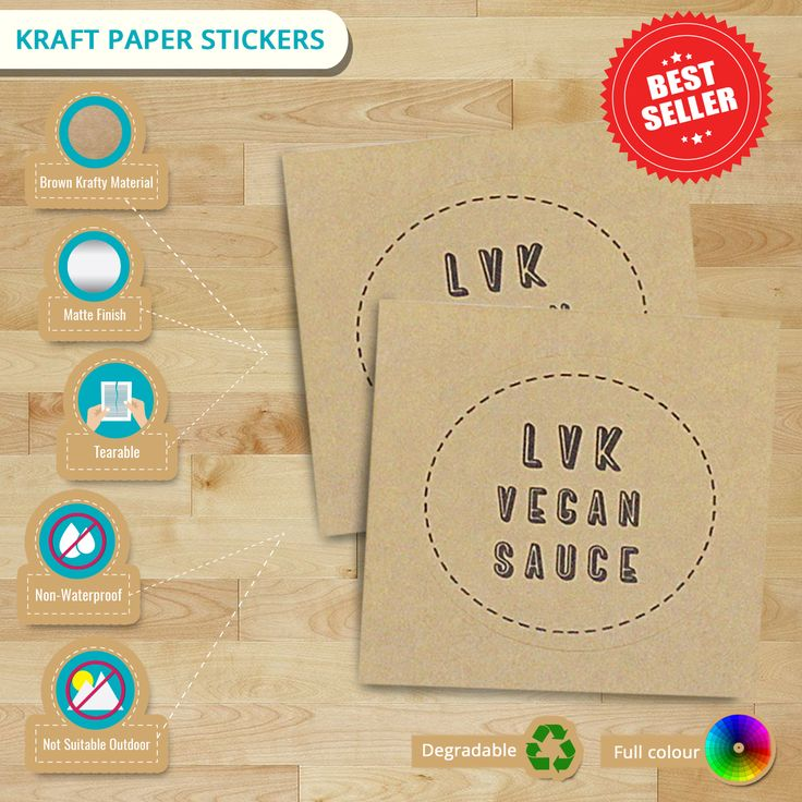 Loving a vintage/recycled look on your labels? Why not use our Kraft Paper Stickers? Recycled look is well suited for the environmentally conscious consumer.