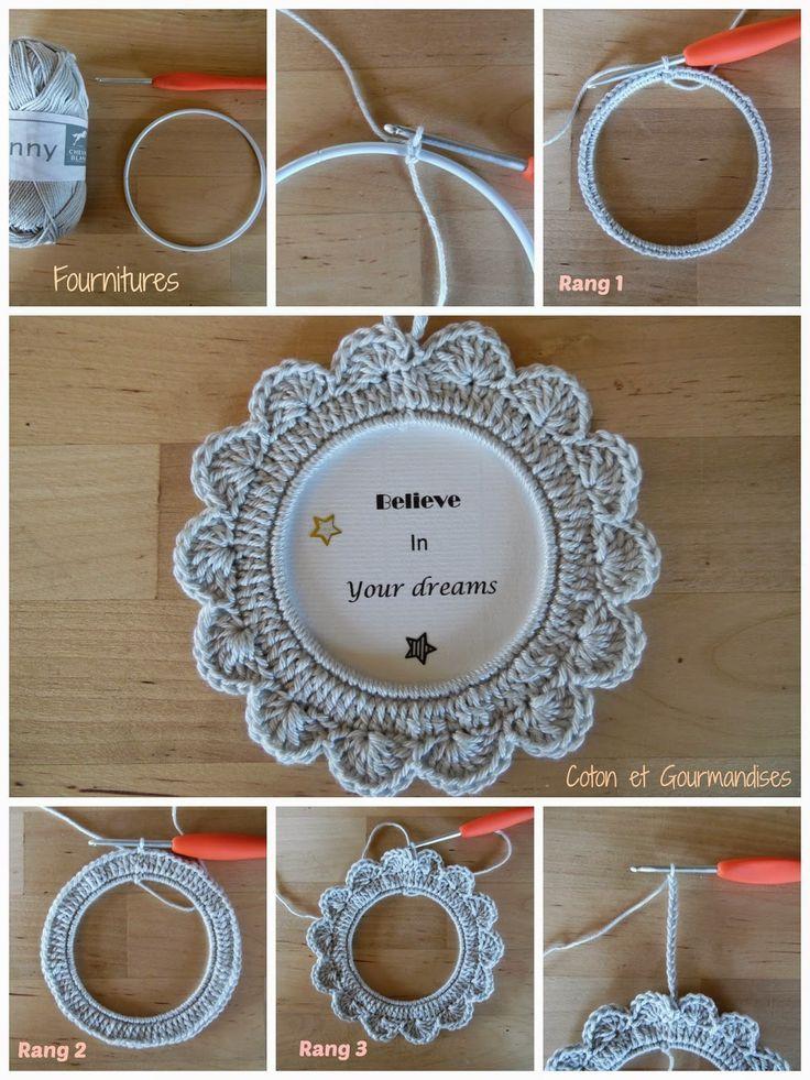 Coton et gourmandises: Tuto cadre au crochet ༺✿ƬⱤღ http://www.pinterest.com/teretegui/✿༻