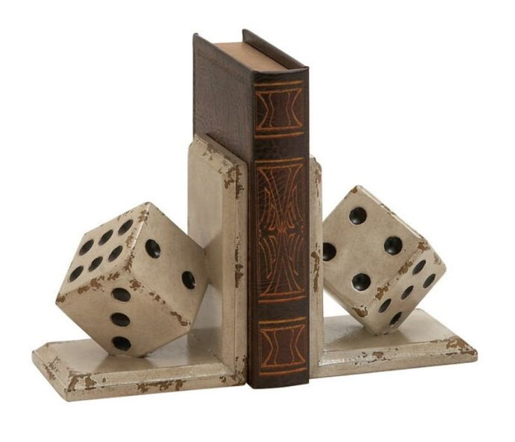 Classy And Unique Wood Dice Bookend Polyresin.  If You Are An Avid And Voracious Reader Then Your Home Is Bound To Be Full Of Books. Organizing Them Is Essential; And For That A Book Shelf And Bookends Are A Must. Without Bookends A Shelf Is Incomplete. These Particular Wood Dice Bookends Are Lovely Creations That Will Infuse In YourDecor Grace And Magic. They Have A Rustic Off White Finish And Are Perfectly Sized For A Normal Bookshelf. They Will Give YourDecor A Timeless And Classic…